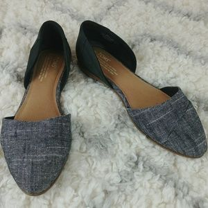 Toms Jutti D'Orsay flats canvas and black leather